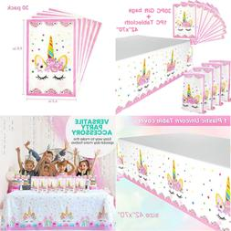 Unicorn Party Favors Bags & Plastic Table Cover Themed Birth