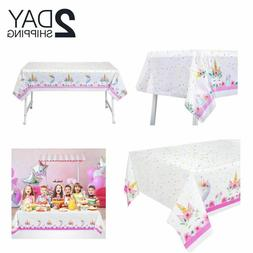unicorn party table cover plastic tablecloth disposable