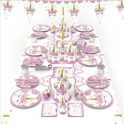 Unicorn Pattern Tableware Plates Table Cover Cap Banner Birt