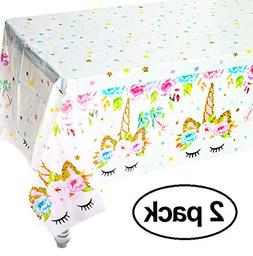 Unicorn Plastic Tablecloth,2pack Unicorn Disposable Table Co