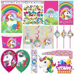 Unicorn Rainbow Birthday Party Range Girls Childrens Decorat