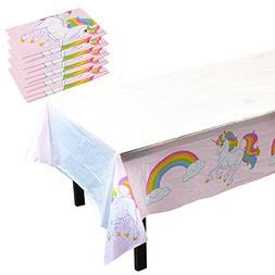 Blue Panda Unicorn Rainbow Party Supplies- 6 Pack of Disposa