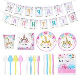 Unicorn Tableware Girls Birthday Party Supplies Napkins Plat