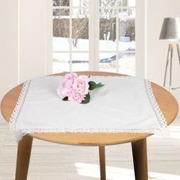 US 1 White Rectangle Plain Tablecloth Cotton Linen Table Cov