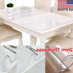 US 2mm Thick Rectangle Waterproof Clear PVC Tablecloth Mat T