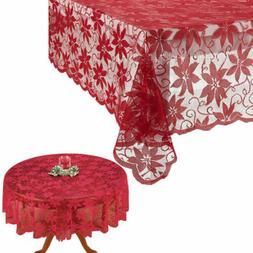 US Festival Table Cloth Red Lace Table Cover Wedding Holiday