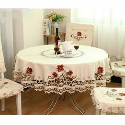 us white embroidered tablecloth floral lace round
