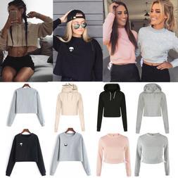 US Women Crop Top Sweatshirt Hoodies Jumper Casual Long Slee