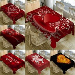 Valentine's Day Table Cloth Rectangular Tea Table Cover Dini