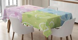 Valentine Tablecloth Hearts Dots Colorful Rectangular Table
