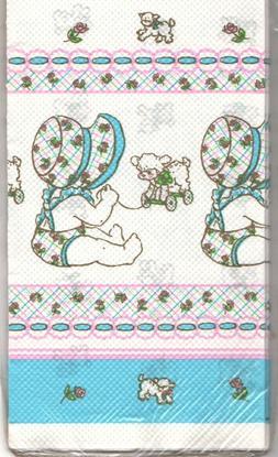 Vintage Baby Shower TableCover 54 x 96 Bonnet Lamb Pink Blue
