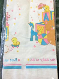 """Vintage C.A. Reed Paper table cover 52"""" X 96"""" 1989 Baby Show"""