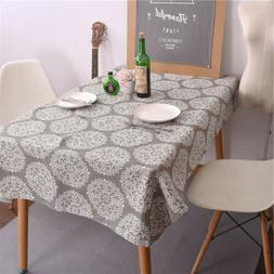 Vintage Cotton Linen Rectangle Tablecloth Table Cloth Dining