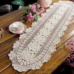 Vintage Handmade Table Runner Crochet Hollow Lace Cotton Des