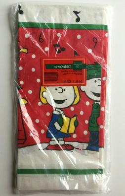 vintage peanuts merry christmas paper table cover