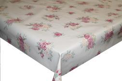 Vintage Roses Beige PVC Tablecloth Vinyl Oilcloth Kitchen Di