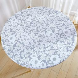 Jilimeli Vinyl Elastic Table Cover with Flannel Backing for