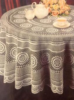 "Vinyl Lace Tablecloth - 70"" Round Faux Lace Plastic Table Co"