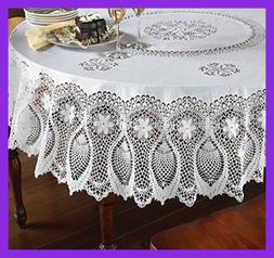 "Vinyl Lace Tablecloth 70"" Round Faux Plastic Table Cover Is"