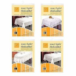 Vinyl Lace Tablecloth Table Cover White Square Round Oval Re