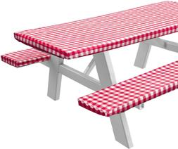 Sorfey Vinyl Picnic Table and Bench Fitted Tablecloth Cover,