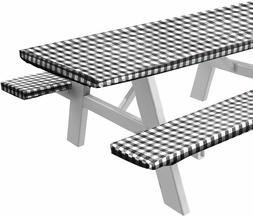 Vinyl Picnic Table and Bench Fitted Tablecloth Cover, Checke