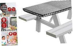 Vinyl Picnic Table Fitted Tablecloth Cover, Checkered Design