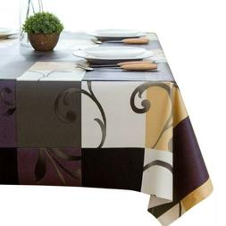 LEEVAN Vinyl Square Table Cover Wipe-able PVC Tablecloth...