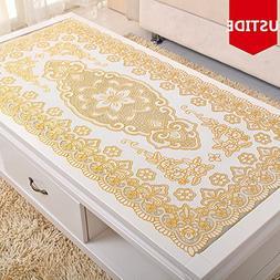 Ustide Vinyl Tablecloth Gold Sequin PVC Table Cloth Eco-frie
