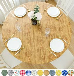 Vinyl Tablecloth Round Fitted Elastic Flannel White Oak Wood
