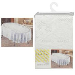 "Vinyl White Oval Tablecloth 54"" X 72"" Design Table Cover Par"