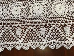 Vntage Handmade Crochet  Cotton Table Runner Desktop Decor C