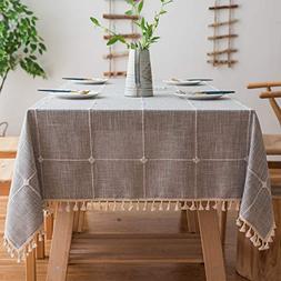 Mokani Washable Cotton Linen Solid Embroidery Lattice Design