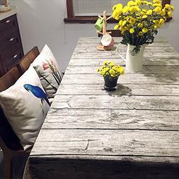 Bringsine Washable Cotton Linen Vintage Wooden Grain Pattern