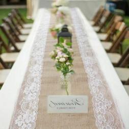 Wedding Hessian Burlap Lace Table Runner Natural Jute Rustic
