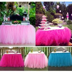 Wedding Party Tulle Table Skirt Tableware Cover Birthday Bab