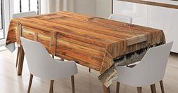Ambesonne Western Decor Tablecloth, Rural Town Livery Stable