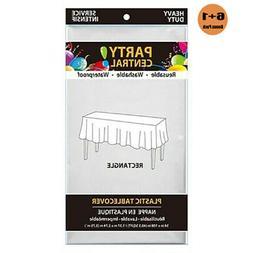 White 7 pack premium disposable plastic table cover 54x108 i
