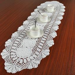 White Cotton Weave Table Runner Vintage Hand Crochet Table C