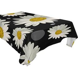 My Little Nest White Daisies and Dots Square Tablecloth Wash