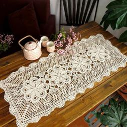 White Embroidered Lace Tablecloth Table Cover Table Runner f