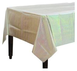 """White IRIDESCENT OPALESCENT TABLE COVER 54"""" x 102"""" paper & p"""