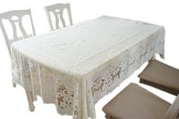 Beautiful White Lace Dining Table Cover, 140 By 200CM