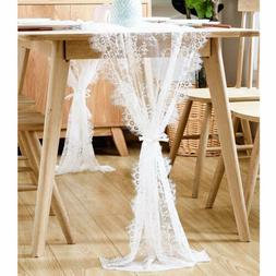 White Lace Table Runner Chair Sash Table Cover Wedding Party