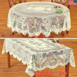 White Lace Tablecloth Table Cover Oval Rectangle Floral Wedd