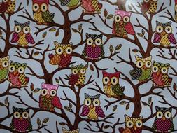 WHITE POLKA DOTS PINK BLUE BROWN OWLS LEAVES TREES PVC VINYL