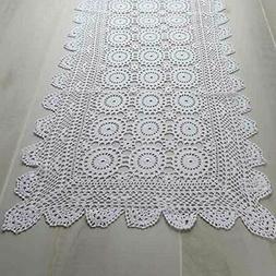 White Rectangle Cotton Hand Crocheted Doily Runner