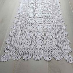 """Factory Direct Craft 36"""" White Rectangle Cotton Hand Crochet"""