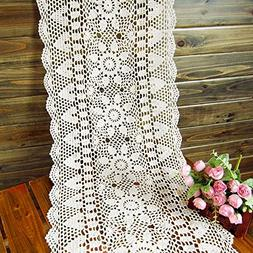 gracebuy 16X63 Inch White Rectangle HANDMADE Crochet Lace Ta