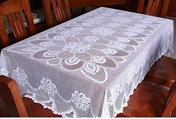 "HAORUI 60"" X 90"" White Rectangle Lace Reusable Tablecloth"